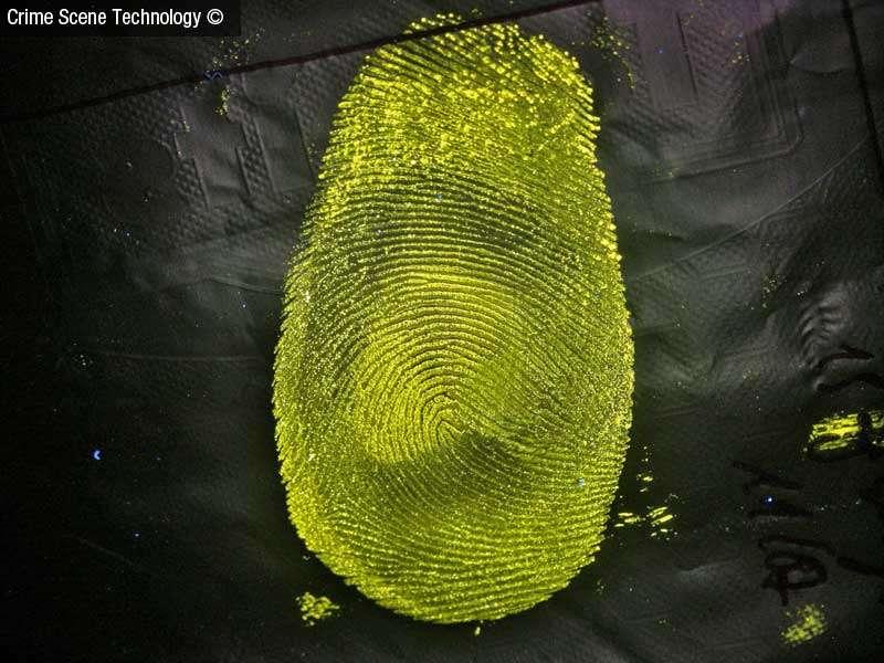 Grâce au Lumicyano, les empreintes digitales les plus difficiles à révéler peuvent prendre des tournures fluorescentes. © Crime Scene Technology