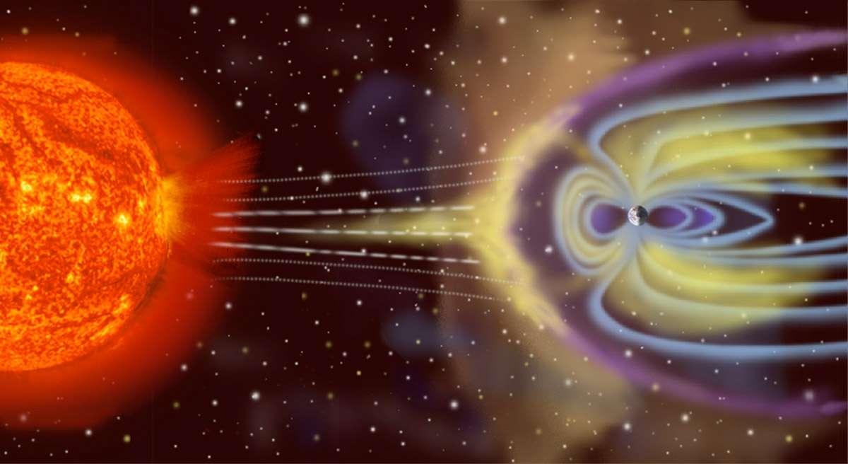Quand le vent solaire frappe la Terre... Crédit Esa