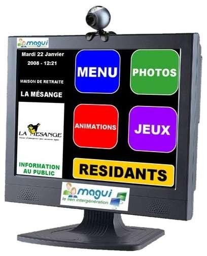 Un écran tactile, des icônes très larges et une webcam : c'est Magui. © Simplistay