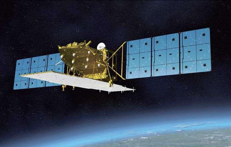 Vue d'artiste d'Alos-2, ou Daichi-2, en orbite. Ce satellite japonais, qui vient d'être installé à son poste analysera par radar les événements climatiques extrêmes et servira aussi à l'agriculture. © Jaxa