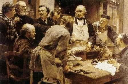 La leçon de Claude Bernard, un tableau peint en 1889 par Léon Augustin Lhermitte. © Domaine public