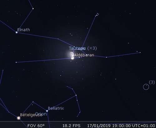 La Lune en rapprochement avec Aldébaran