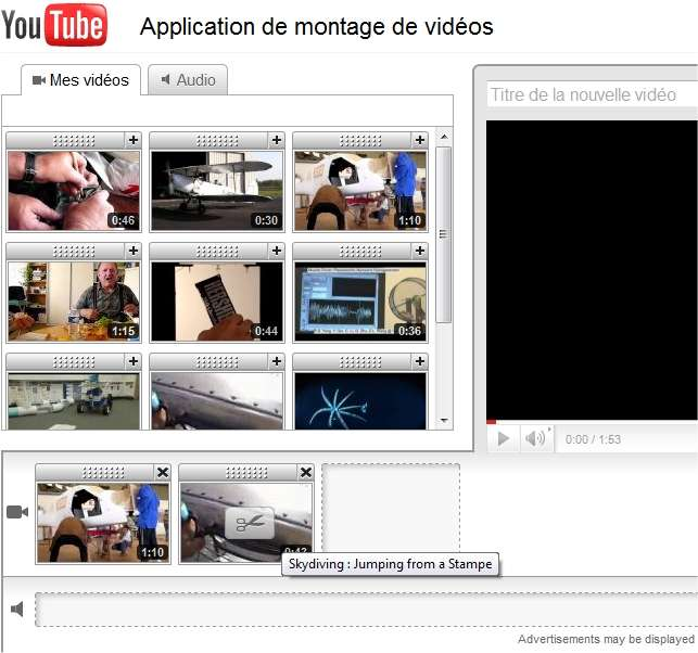 Les vidéos déjà déposées sur le compte utilisateur apparaissent sur ce banc de montage plutôt simple. Un clic en sélectionne une et on peut ainsi en concaténer plusieurs. Un double clic lance le clip. Deux barres verticales, l'une au début et l'autre à la fin permettent de la tronquer (mais pas de la découper). Les bandes sonores que l'on peut ajouter sont seulement les morceaux de musique proposés par YouTube.
