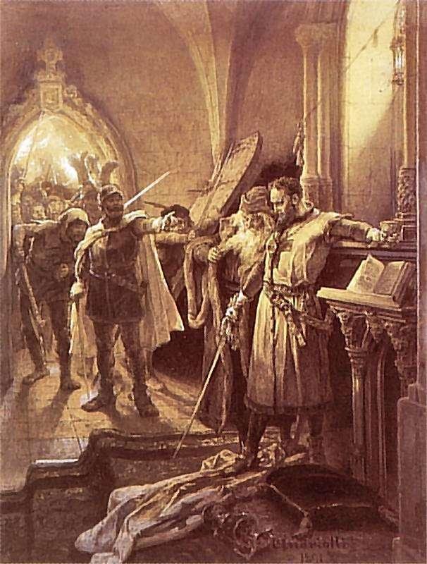Les chevaliers teutoniques avaient un grand maître. Ici, Konrad von Wallenrode, qui a dirigé l'ordre de 1391 à 1393. © Michał Elwiro Andriolli, Wikimedia Commons, DP
