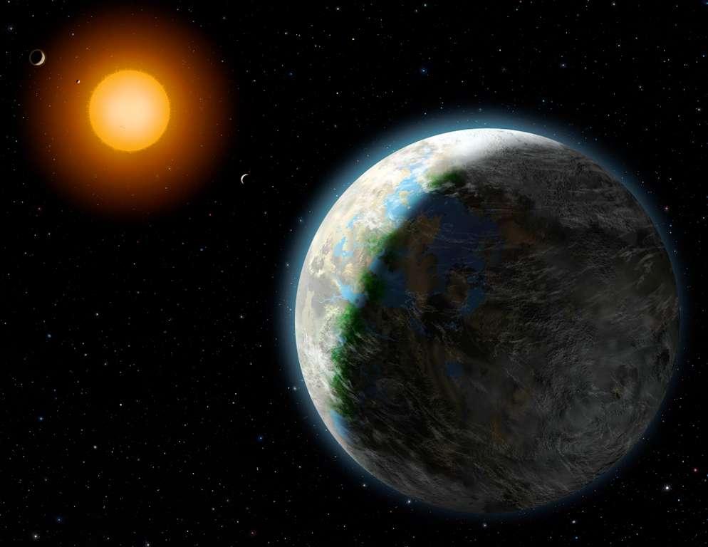 Une vue d'artiste de Gliese 581g en orbite autour de sa naine rouge. Sa période orbitale est de moins de 37 jours et selon les estimations, sa température moyenne serait comprise entre -31 et -12 degrés Celsius. © Lynette Cook