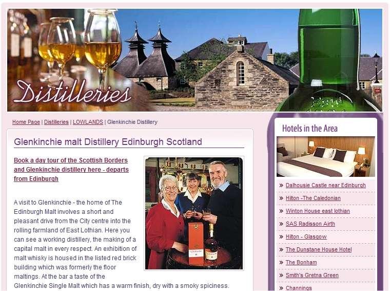 La distillerie Glenkinchie (ici une image de son site Web) a collaboré activement aux recherches sur le biobutanol, peut-être une nouvelle source de revenus pour les producteurs de whisky écossais.
