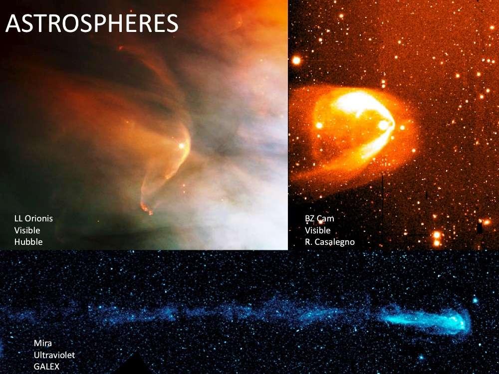 Dans le visible, on repère l'équivalent de l'héliosphère de notre Soleil autour de plusieurs étoiles proches, comme LL Orionis vue par Hubble en haut à gauche. Ce sont des astrosphères, des bulles magnétiques de vents stellaires séparant l'étoile et son environnement du milieu interstellaire. © Nasa, Esa, JPL-Caltech-GSFC, SWRI