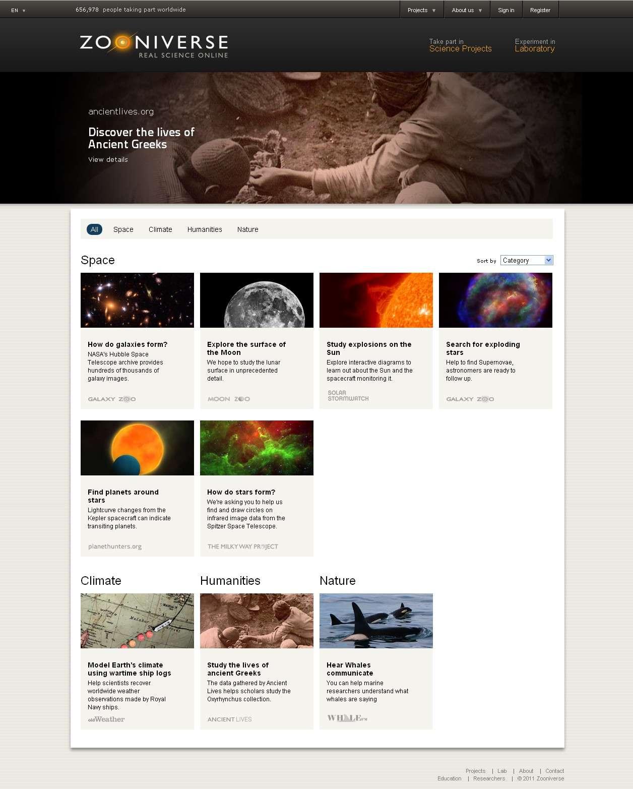 La page d'accueil du site Zooniverse propose aux internautes une multitude de projets pour les inciter à travailler aux côtés des chercheurs de nombreuses disciplines. © Zooniverse