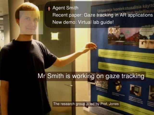 Exemple typique de réalité augmentée : des renseignements s'affichent devant le regard. Ici, ils concernent la personne, reconnue par le système. © Multidisciplinary Institute of Digitalisation and Energy/Université Aalto