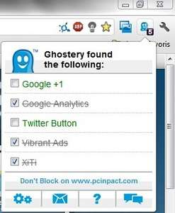 Les boutons sociaux comprennent « Google +1 », « Facebook Like » et « Twitter Button ». Les décocher sur une page, à l'aide de Ghostery, validera le réglage pour tout le site. L'opération est à reproduire pour tout nouveau domaine. © Guénaël Pépin