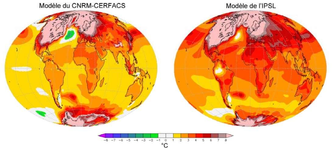 Les modèles développés par les laboratoires français peuvent également être utilisés dans le cadre d'études paléoclimatiques. Ces cartes montrent les changements de la température à la surface de la Terre entre le dernier maximum glaciaire, il y a environ 21.000 ans, et la période 1971-2000, calculés par les modèles du CNRM-Cerfacs et de l'IPSL. © Patrick Brockmann (LSCE/IPSL, CEA/CNRS/UVSQ)