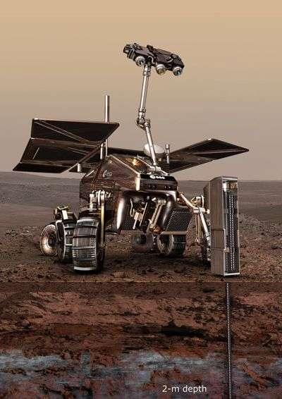 """ExoMars au sol, la """"taupe"""" en action (vue d'artiste). Crédit ESA."""