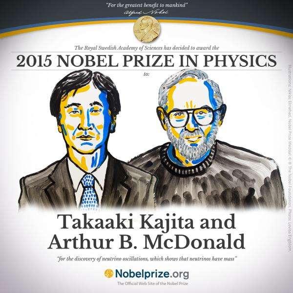 Takaaki Kajita et Arthur B. McDonald viennent d'être récompensés par le prix Nobel de physique 2015. © Comité Nobel
