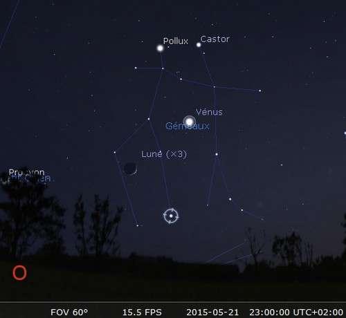 La Lune en rapprochement avec Vénus et Alhéna