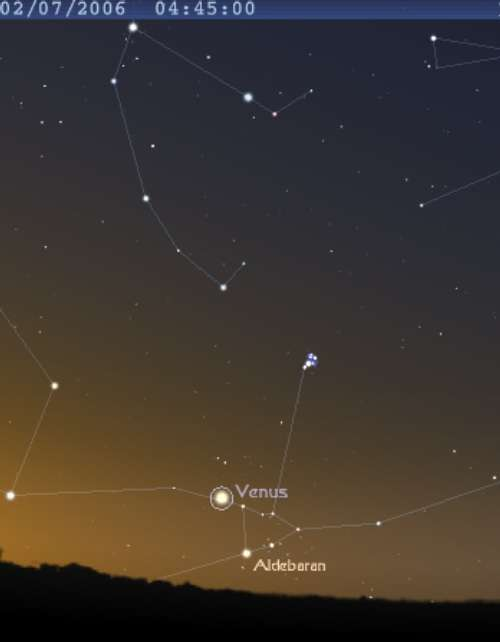 La planète Vénus est en conjonction avec l'étoile Aldébaran