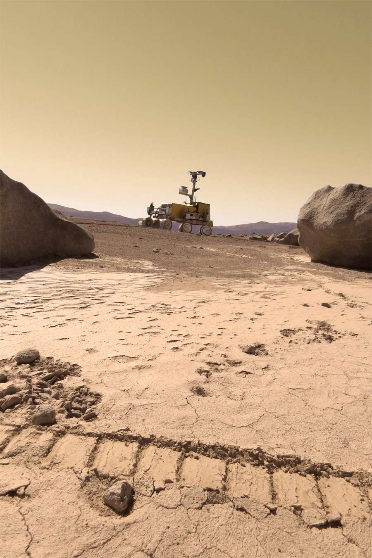 Le rover Bridget d'Astrium lors de ses essais au Chili. © Elie Allouis, Astrium