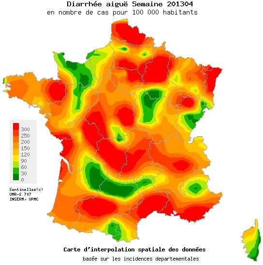 La France était encore presque entièrement rouge la semaine précédente, signe que l'épidémie de gastroentérite était intense sur tout le territoire. Mais la maladie recule et l'Hexagone reverdit. © Réseau Sentinelles