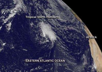 L'image du satellite Goes date du 16 septembre 2013. On peut y voir la tempête tropicale Humberto qui vient de se renforcer dans l'est de l'Atlantique. © Nasa Goes Project