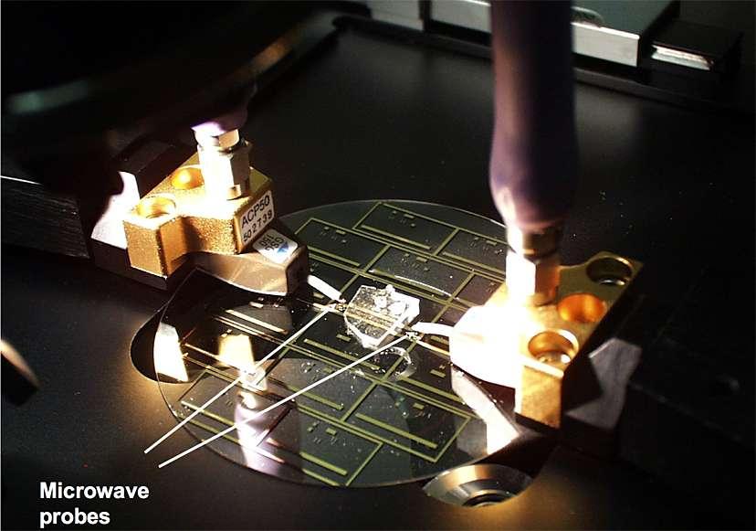 Le plus petit four du monde, dans sa version expérimentale. Les motifs dorés (de l'or) forment l'émetteur de micro-ondes, inclus entre la plaque de verre et le bloc de plastique. Les deux électrodes servent à la mesure du champ électromagnétique. © NIST