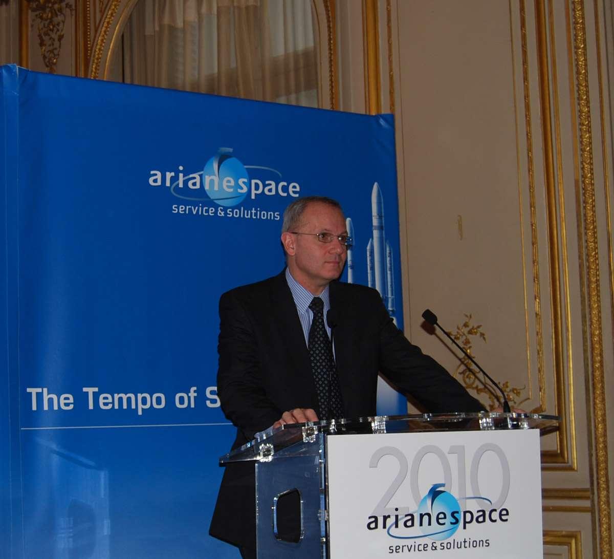 Jean-Yves Le Gall : « Nous abordons 2010 confiants avec de sérieux atouts mais avec quelques incertitudes vis-à-vis de la crise économique et une surcapacité de l'offre de lancement. ». © Futura-Sciences / R. Decourt