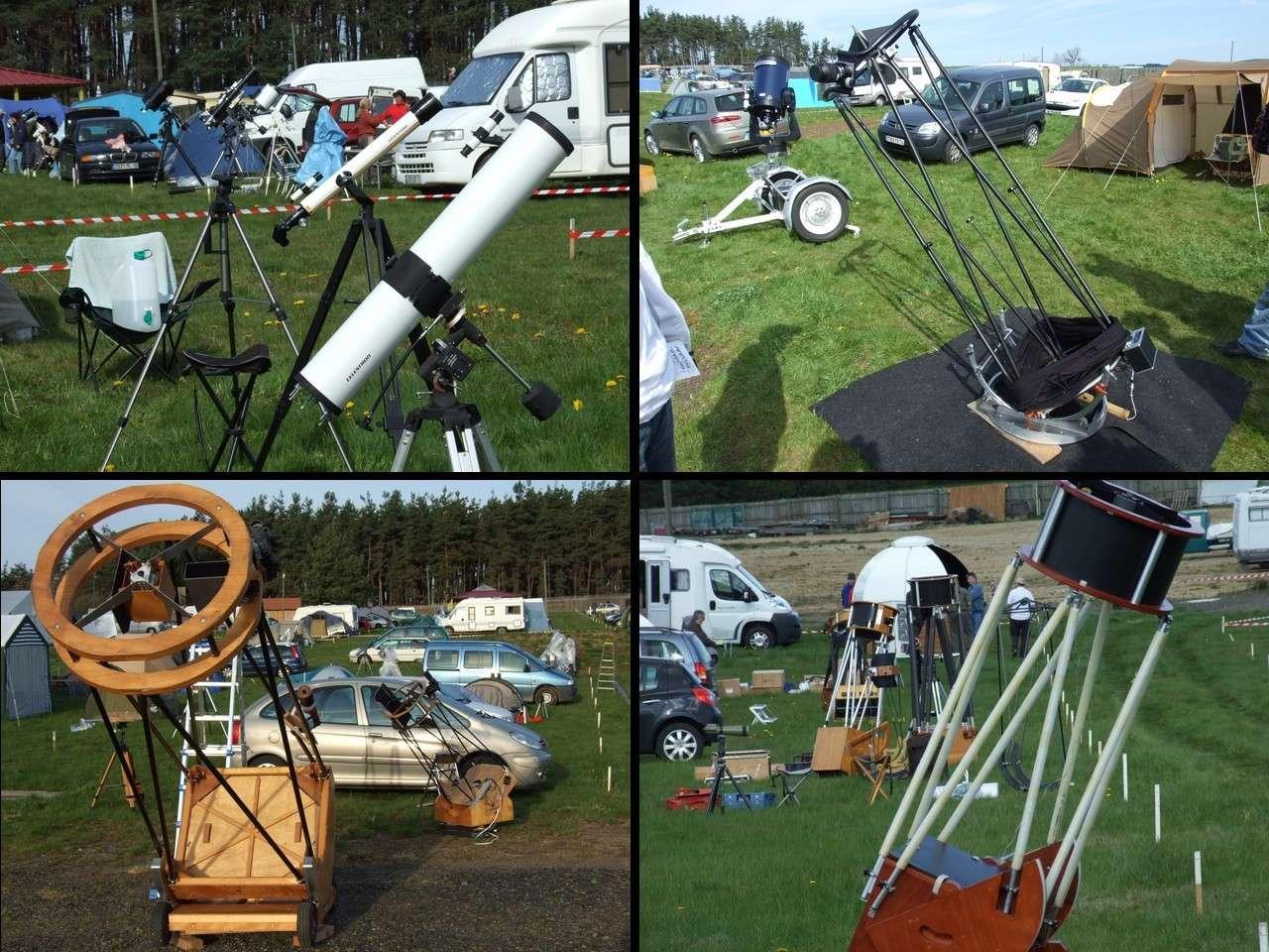Aux Rencontres Astronomiques de Printemps, on trouve (presque) tous les instruments possibles et imaginables. Crédit J-B Feldmann
