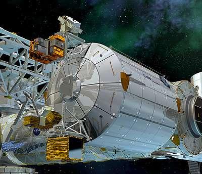 Dessin du laboratoire européen Columbus installé sur l'ISS, tel qu'il le sera en principe ce soir, 11 février 2008, à 23 h 25 (heure française). © ESA