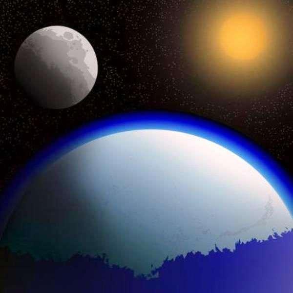 Vue d'artiste de la Terre de l'Archéen, alors que le Soleil était moins lumineux de 20 à 30 % par rapport à notre époque. Des gaz à effet de serre devaient probablement maintenir un climat suffisamment chaud pour éviter que toute la planète soit couverte de glace. Ces gaz auraient permis à la vie d'apparaître et de se développer à ce moment-là. © Charlie Meeks