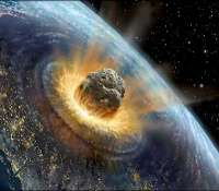 La chute d'un gros astéroïde sur Terre pourrait ressembler à cette vue d'artiste. © David Hardy