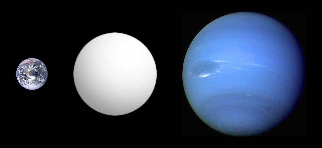 Une comparaison de la taille de Neptune (à droite) avec la Terre (à gauche) et au centre GJ 1214 b. © Aldaron-Wikipédia