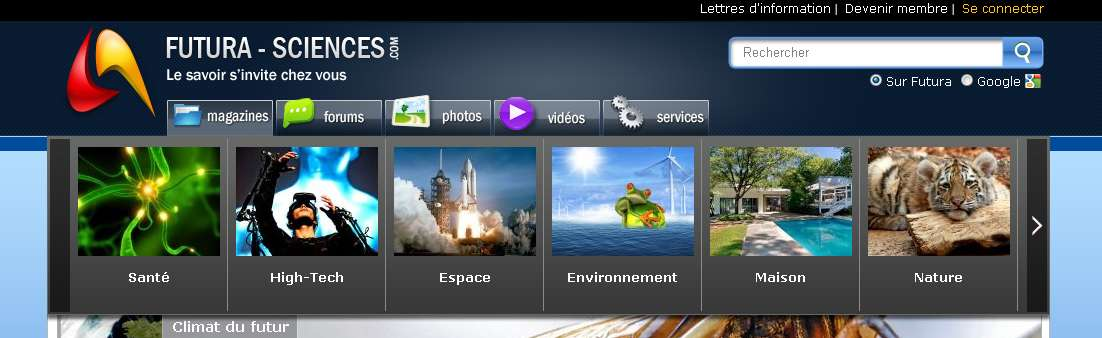 Le menu Magazines de la page d'accueil vous présente nos neuf univers thématiques. © Futura-Sciences