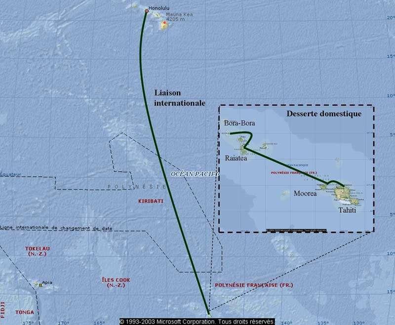 La paire de fibres optiques parcourt 4.658 kilomètres sur le fond de l'océan Pacifique pour rejoindre Hawaï où elle est connectée à d'autres lignes vers l'Amérique du nord, la Nouvelle-Zélande et l'Australie. La Polynésie française est désormais reliée à la toile mondiale. © OPT