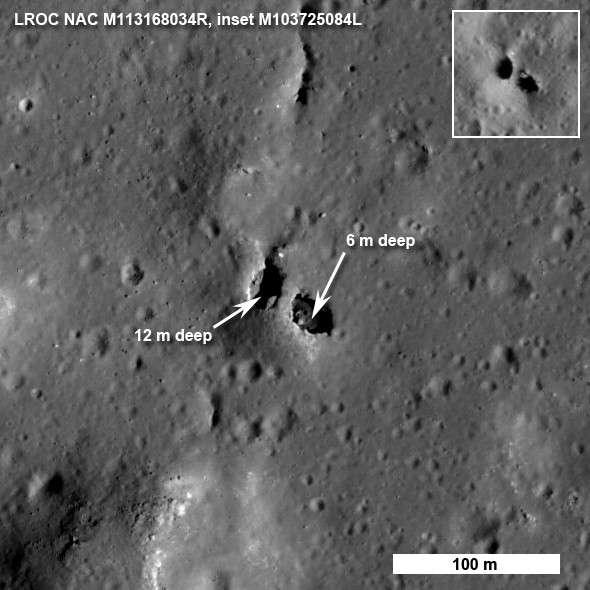 Un pont naturel observé sur la Lune, une nouvelle curiosité géologique découverte par LRO. Crédit Nasa/GSFC/Arizona State University