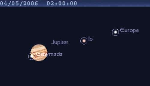 La planète Jupiter est en opposition, et le satellite Ganymède projette son ombre sur Jupiter