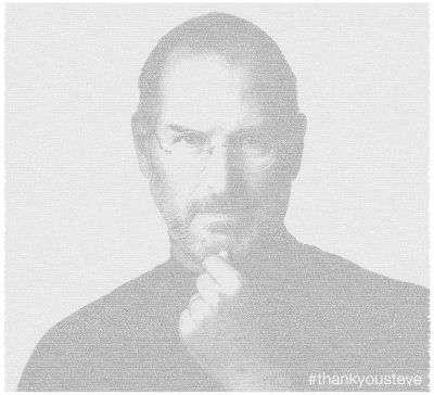 Le portrait de Steve Jobs composé à l'aide de tweets lui rendant hommage. ©Twitter/Tous droits réservés/@miguelrios