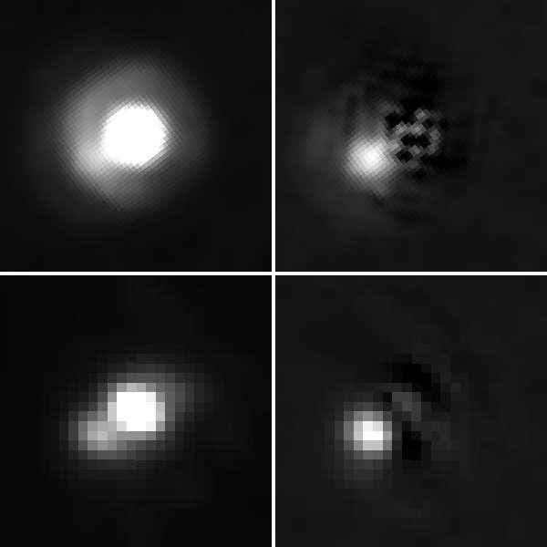 En haut, des images du système de 2M J044144 prises par Hubble et en bas celles prises par le télescope au sol de Gemini à Hawaï. Dans les deux cas, la seconde image montre plus clairement le compagnon de la naine brune, plus brillante dans la première image et qu'on a enlevé en traitant l'image. Crédit : (en haut) Nasa, Esa, K. Todorov, K. Luhman (Pennsylvania State University); (en bas) Gemini Observatory/Aura/K. Todorov, K. Luhman (Pennsylvania State University)