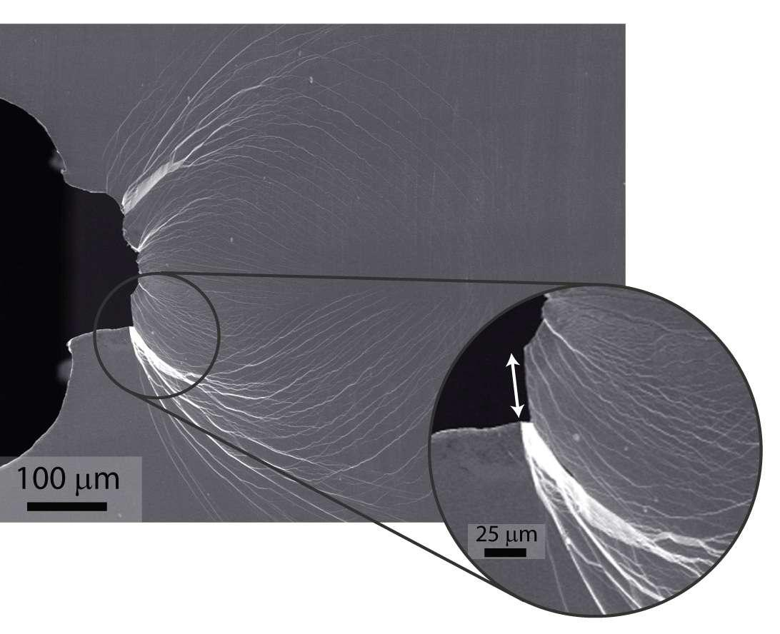 Visualisation au microscope d'une déformation plastique à l'intérieur du verre. Dans l'insert, on voit la trace de la déformation plastique (indiquée par une flèche) avant que la rupture ne se produise. © Marios D. Demetriou et Robert O. Ritchie