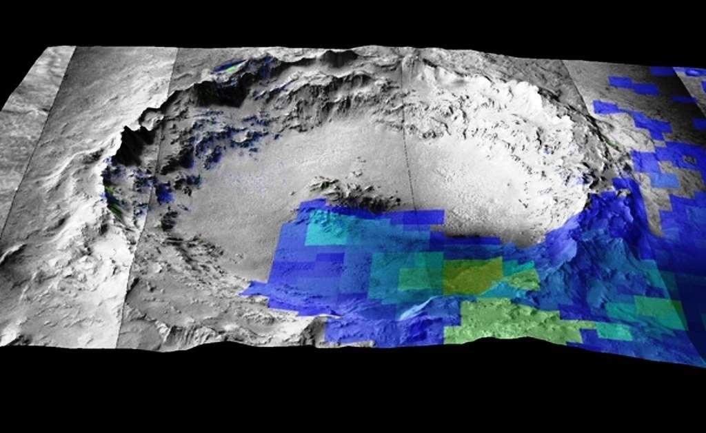 Le cratère Mojave a été formé il y a quelques millions d'années. Il est aujourd'hui identifié comme étant la source du plus grand groupe de météorites martiennes (les shergottites). Les pixels colorés montrent la présence de minéraux mafiques (pyroxène et olivine) identifiés par les instruments Omega et Crism (respectivement à bord des sondes Mars Express et MRO), et qu'on trouve également dans les météorites martiennes à partir d'analyses en laboratoire. © Esa, Stephanie C. Werner, Anouck Ody, François Poulet