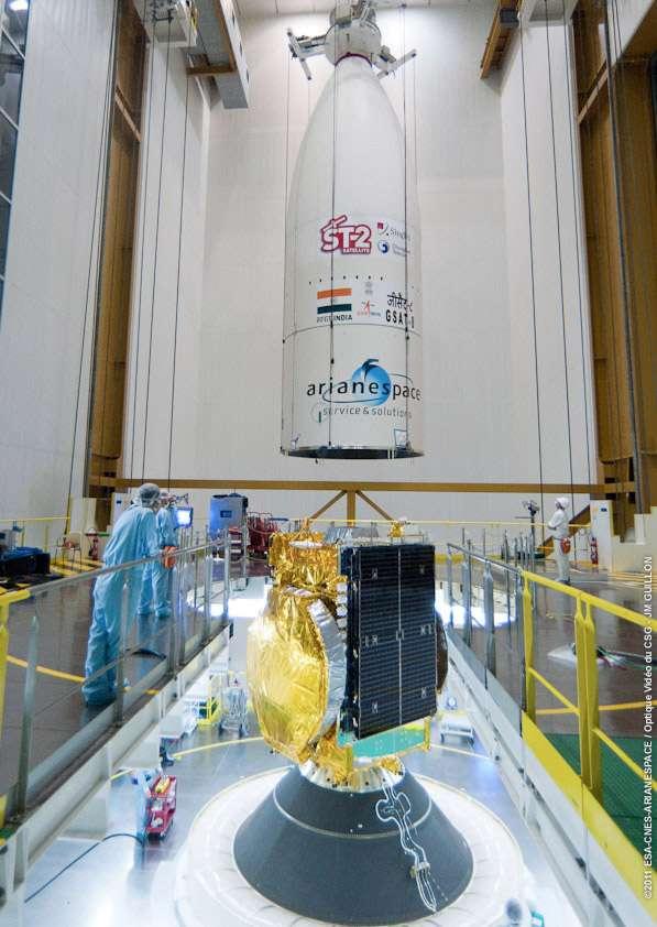 Troisième lancement de l'année pour Arianespace qui doit mettre à poste deux satellites de télécommunications, représentant plus de 8 tonnes de charge utile. © Esa/Cnes/Arianespace/Optive video CSG & JM Guillon
