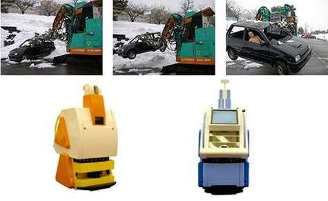 """Un robot sauveteur et un """"lèche-vitrine robotisé"""", robot déambulant dans les galeries commerciales pour informer le client."""