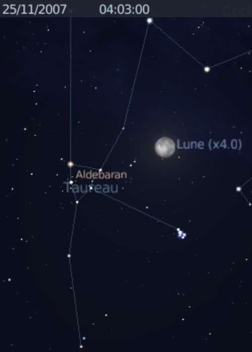 La Lune est en conjonction avec l'étoile Aldébaran