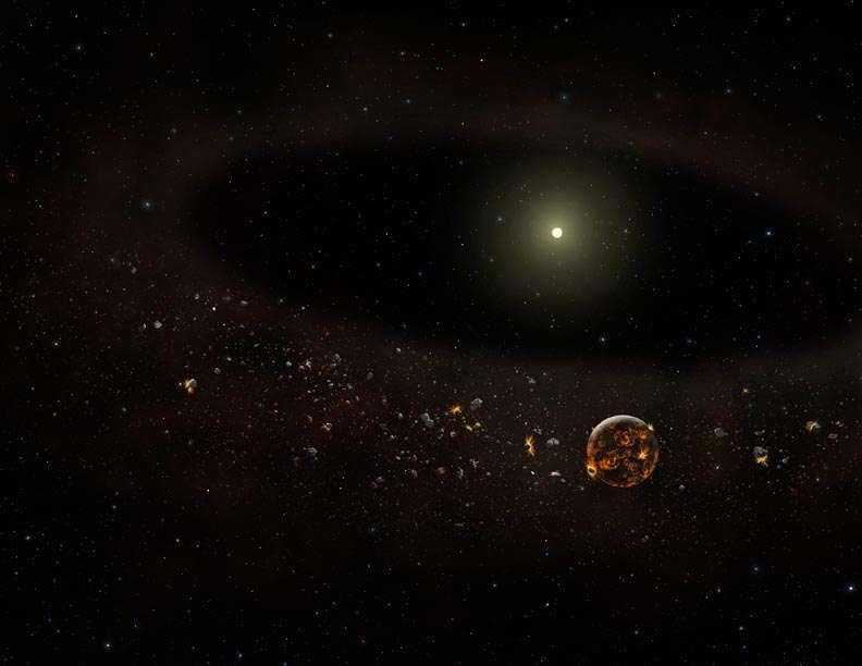 Une vue d'artiste de la jeune étoile TYC 8241 2652 venant de perdre son disque de poussière. Une planète y est visible encore en formation. Cette planète est hypothétique. © Gemini Observatory-Lynette Cook.
