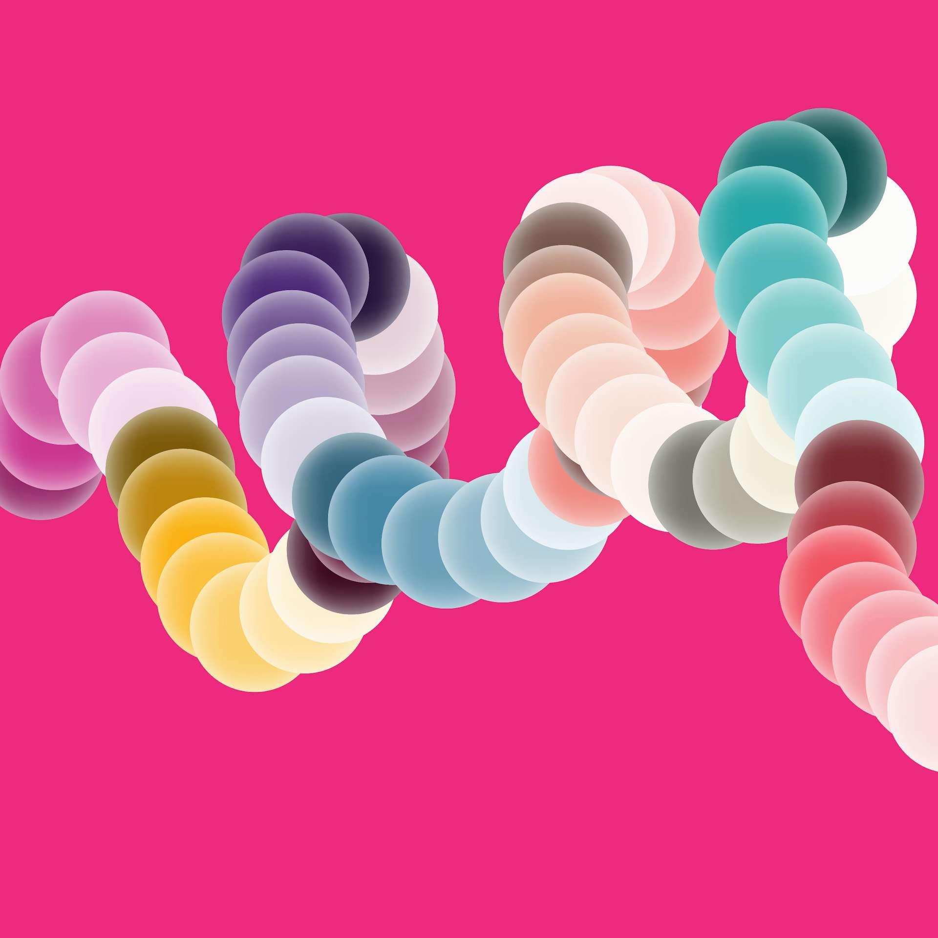 Dans le circuit logique, chaque racine carrée est encodée avec un couleur différente sur l'ADN. © Elena De Sica, Adobe Stock