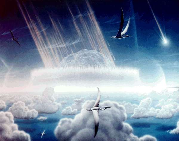 L'impact de l'astéroïde tel que l'on peut-être vu les espèces du Crétacé (Crédit : Don Davis).