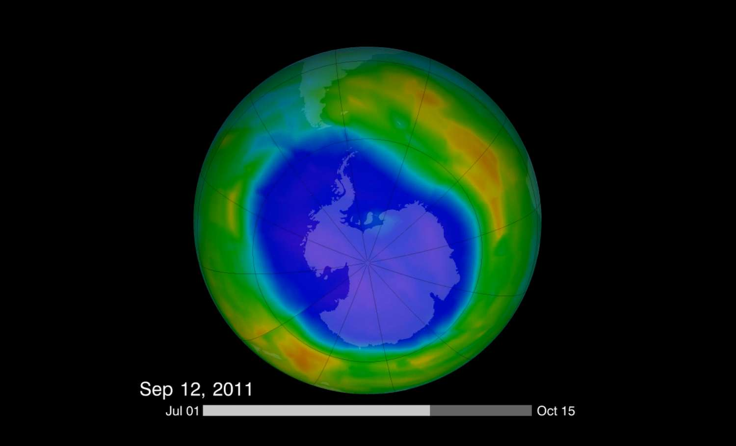 Les activités humaines ont brisé l'équilibre fragile entre destruction et formation de la couche d'ozone. Cette image montre l'étendue du trou dans la couche d'ozone, en date du 12 septembre 2011. © NASA Goddard Space Flight Center, Flickr, CC by 2.0