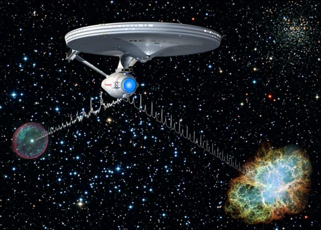 Clin d'œil à Star Trek de la part des membres de l'institut Max Planck de physique extraterrestre. Ils envisagent que l'Entreprise du capitaine Kirk utilise des pulsars pour se repérer dans ses voyages dans la Voie lactée. Celui de la nébuleuse du Crabe est représenté sur cette image d'artiste, en bas à droite. © Institut Max Planck de physique extraterrestre