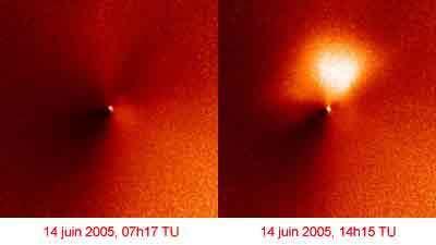 La comète Tempel 1 par Hubble