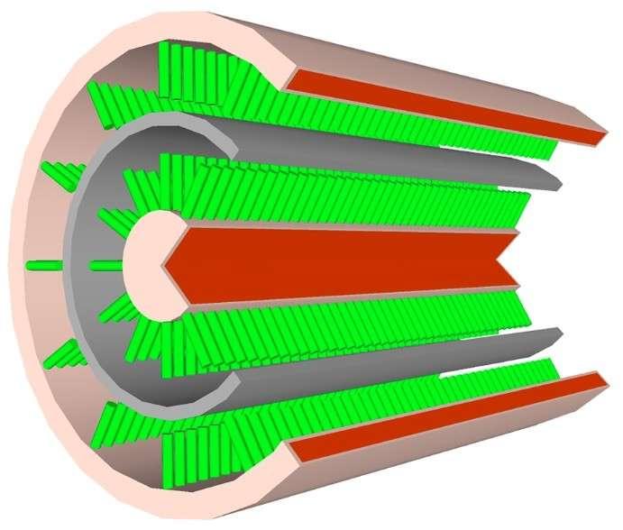 Voici une vue schématisée du câble-batterie inventé par des chercheurs de l'université centrale de Floride. Au cœur du câble, un fil de cuivre entouré d'une gaine hérissée de « nanobarbes » (en vert) traitées pour créer une électrode. Cette première couche est isolée (gaine gris foncé) afin d'ajouter la seconde électrode elle-même composée de nanobarbes. Les deux structures cohabitent, l'une faisant circuler l'électricité, l'autre la stockant. © Université de Floride centrale