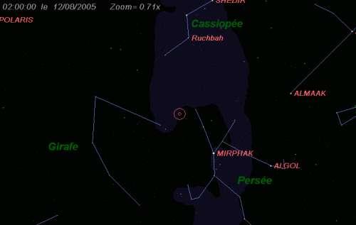 Maximum de l'essaim des météores des Perséides