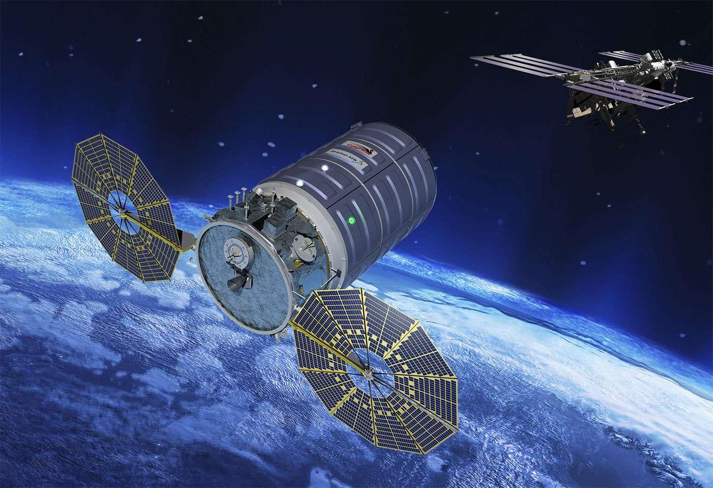 Le quatrième lancement du Cygnus – une version améliorée, plus grande et avec de nouveau panneaux solaires – marque le retour des vols privés américains. © Orbital ATK