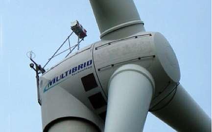 Fixé au sommet de la nacelle, un radar Lidar avait déjà été utilisé auparavant par la même équipe pour étudier le champ de vents devant l'éolienne. La nouvelle version du dispositif peut prendre des mesures dans toutes les directions. © SWE